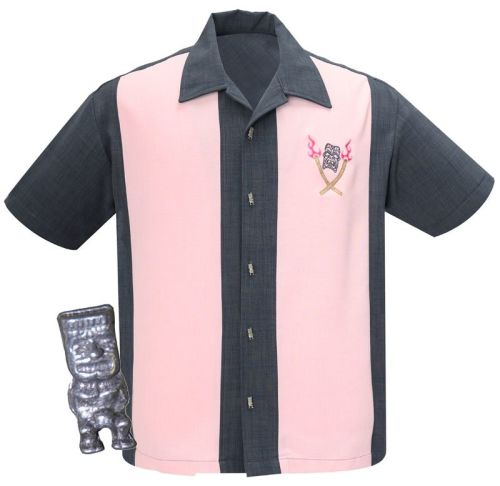 Steady Clothing Tropical Itch Button Up Shirt - Charcoal / Pink