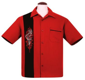 Steady Clothing Pinstripe Pinup Panel Button Up Shirt - Red