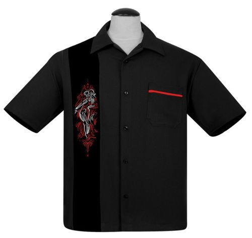 Steady Clothing Pinstripe Pinup Panel Button Up Shirt - Black
