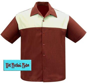 Hot Rockin Retro Chest Yoke Button Up Shirt - Rust / Cream