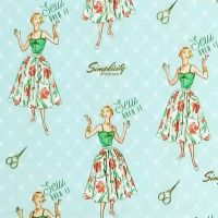 Jo-Ann Fabrics SIMPLICITY VINTAGE - SEW OVER IT Fabric - Mint