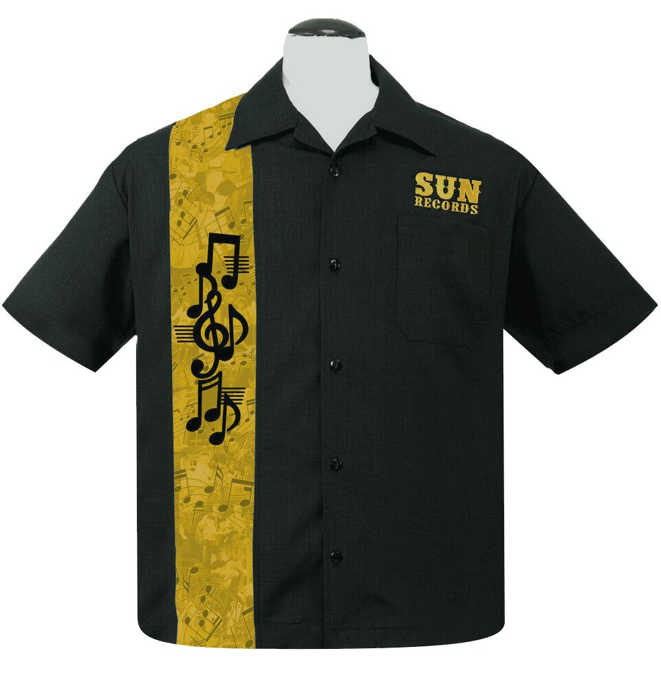 Steady Clothing Sun Records Golden Notes Button Up Shirt - Black