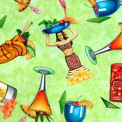 Quilting Treasures POSTCARDS FROM PARADISE, TROPICAL DRINKS Fabric – Light