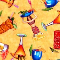 Quilting Treasures POSTCARDS FROM PARADISE, TROPICAL DRINKS Fabric – Apricot