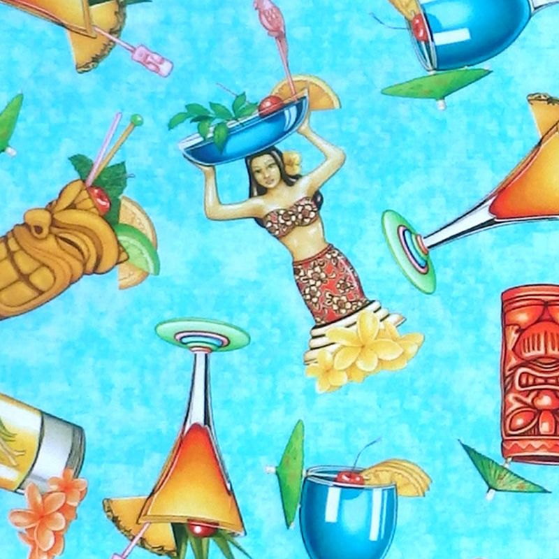 Quilting Treasures POSTCARDS FROM PARADISE, TROPICAL DRINKS Fabric – Aqua