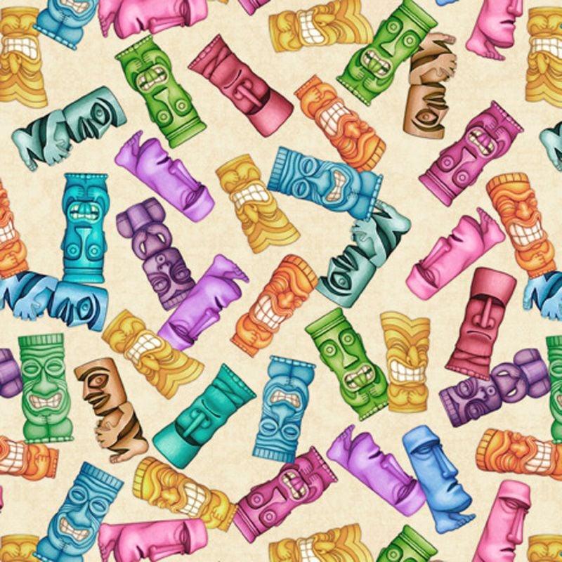 Quilting Treasures POSTCARDS FROM PARADISE, TIKI TOSS Fabric – Cream