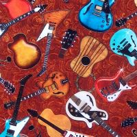 Quilting Treasures GOOD VIBRATIONS, GUITARS Fabric – Copper