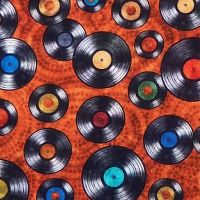 Quilting Treasures GOOD VIBRATIONS, VINYL RECORDS Fabric – Rust