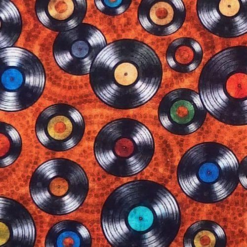 Quilting Treasures GOOD VIBRATIONS, VINYL RECORDS Fabric – Rust