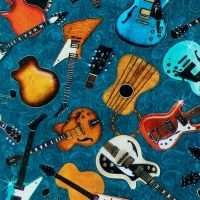 Quilting Treasures GOOD VIBRATIONS, GUITARS Fabric – Teal
