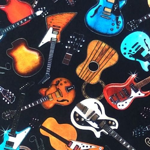 Quilting Treasures GOOD VIBRATIONS, GUITARS Fabric – Black