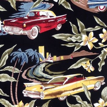 Hoffman TROPICALS, CLASSIC CARS Fabric - Black