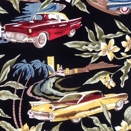 Hoffman Fabrics TROPICALS, CLASSIC CARS Fabric - Black