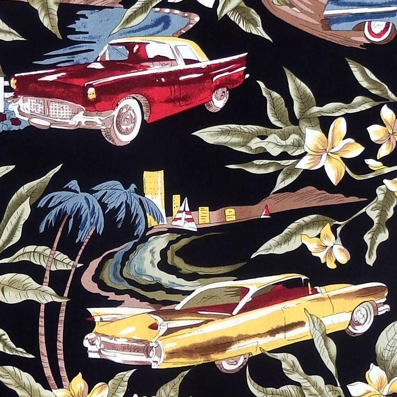 Hoffman TROPICALS, CLASSIC CARS Fabric - Black