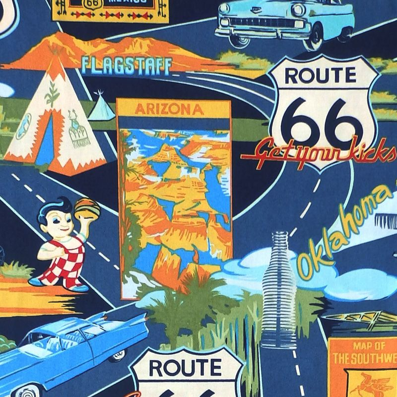 Hoffman TROPICALS, ROUTE 66 Fabric - Navy