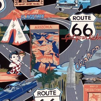 Hoffman TROPICALS, ROUTE 66 Fabric - Black