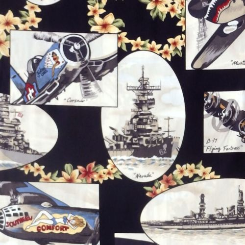 Hoffman TROPICALS, FIGHTER PLANES AND SHIPS Fabric - Black