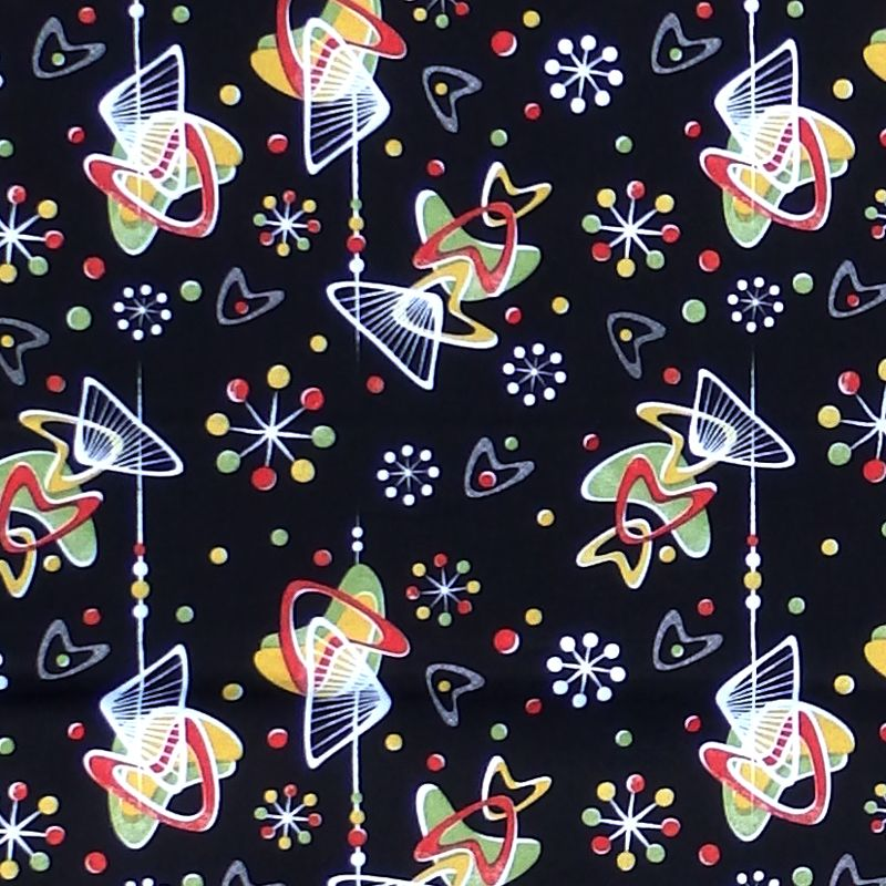 Hot Rockin Retro ATOMIC BOOMERS Fabric - Black
