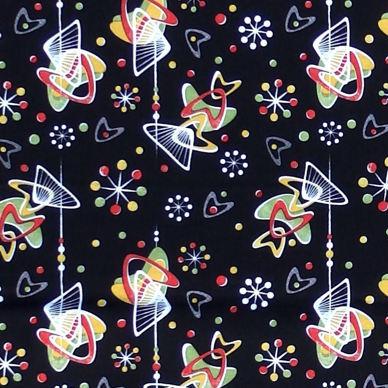 Hot Rockin Retro ATOMIC BOOMERS Fabric - Black