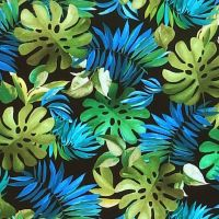 Michael Miller LOST IN PARADISE - LAVISH LEAVES Fabric - Black