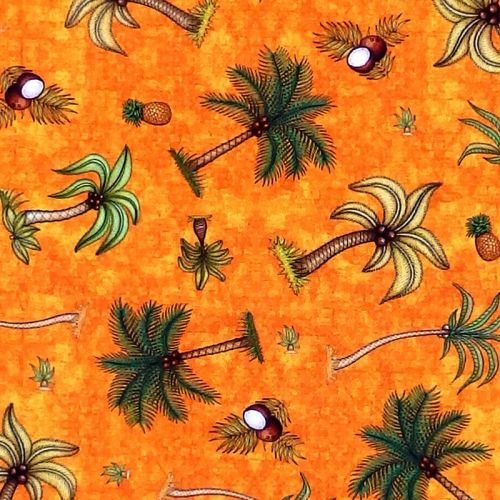 Quilting Treasures POSTCARDS FROM PARADISE, PALM TREES - Orange