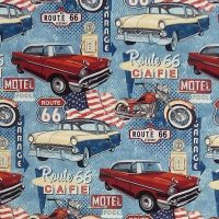 Northcott ROUTE 66 CARS AND CYCLES Fabric - Denim