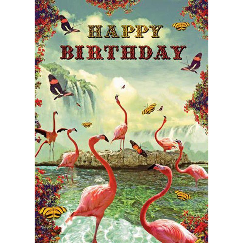 'Flamingo Pool' Greeting Card