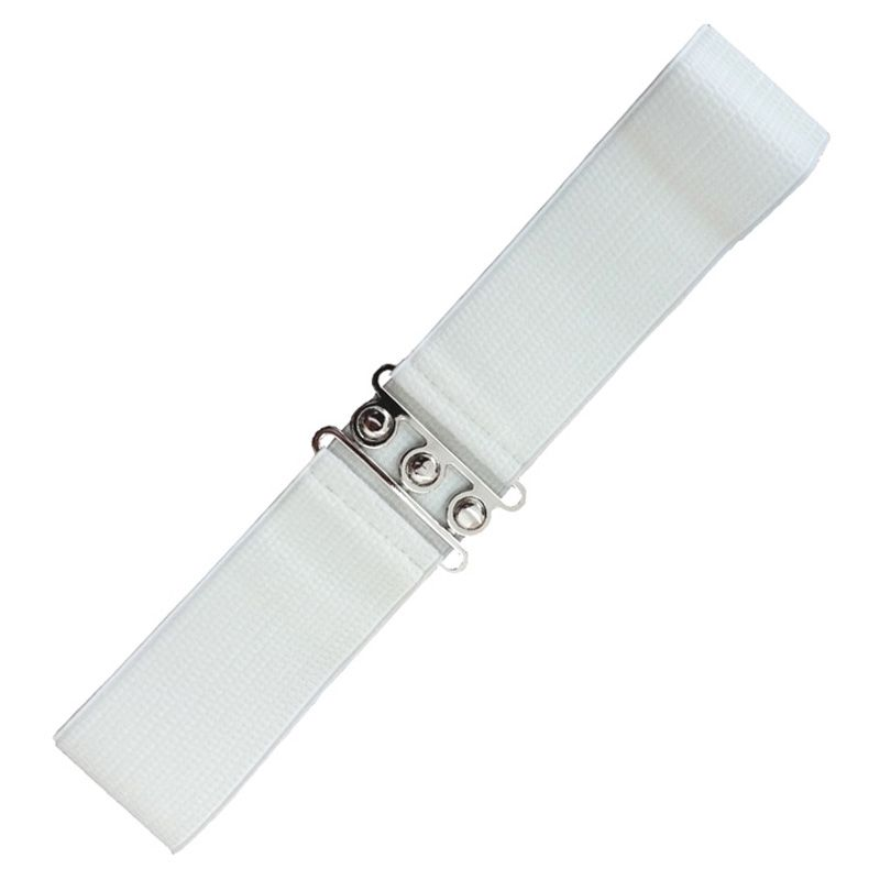 Elastic Cinch Belt - White