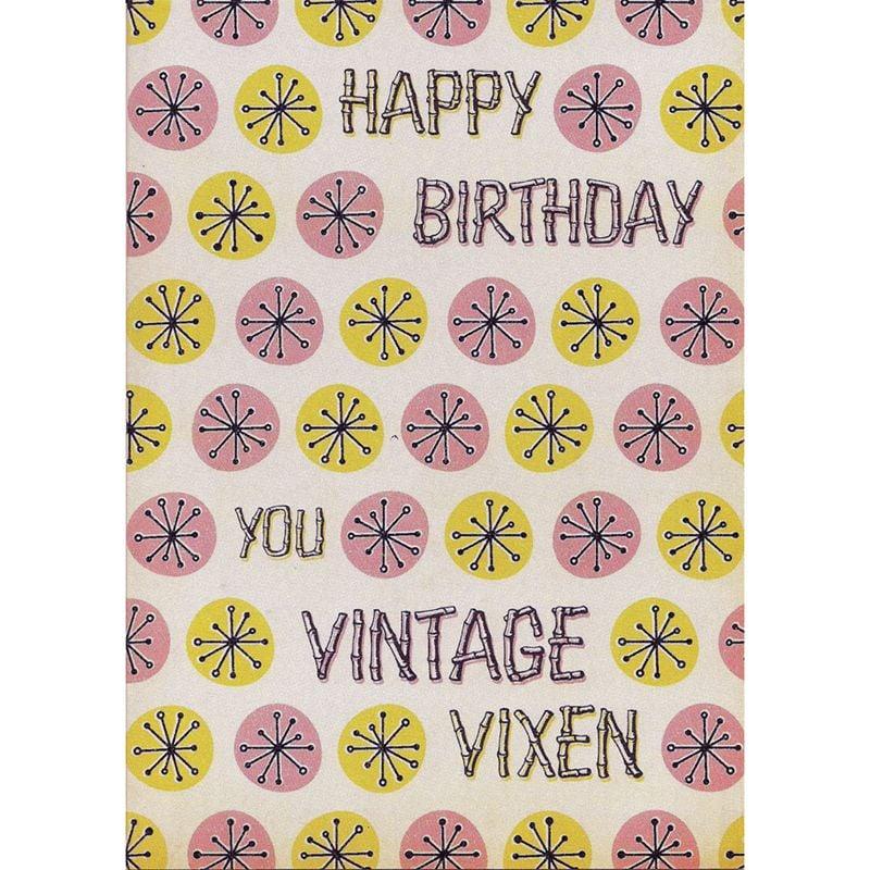 'Vintage Vixen' Birthday Card