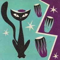 'Jazz Cat' Birthday Card