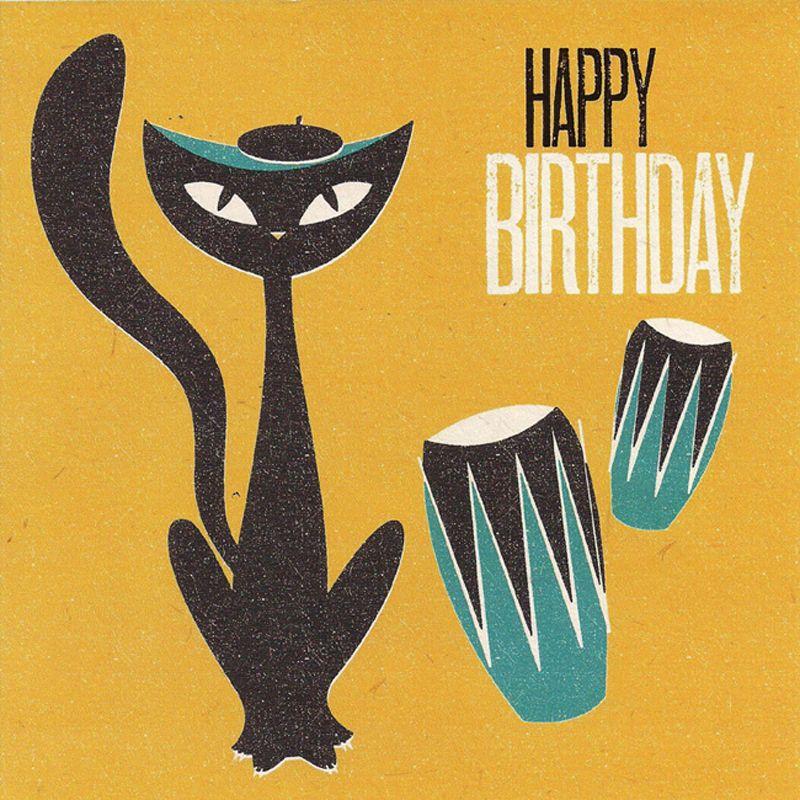 'Jazz Cat' Birthday Card