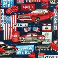 Studio E AMERICAN MUSCLE Fabric - Patriotic Garage Collage