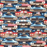 Studio E AMERICAN MUSCLE PATRIOTIC Fabric - On Coming Cars