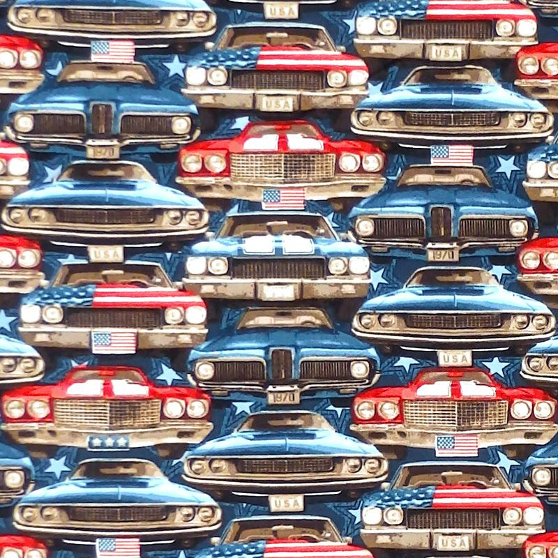Studio E AMERICAN MUSCLE Fabric - On Coming Cars