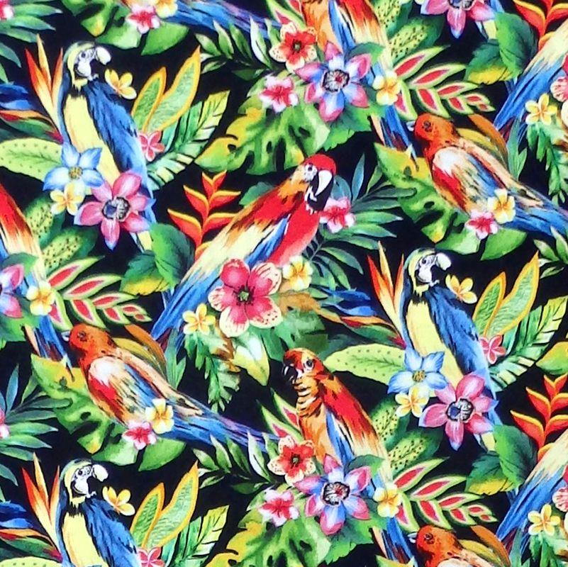Oasis TROPIC PARROTS Fabric - Black