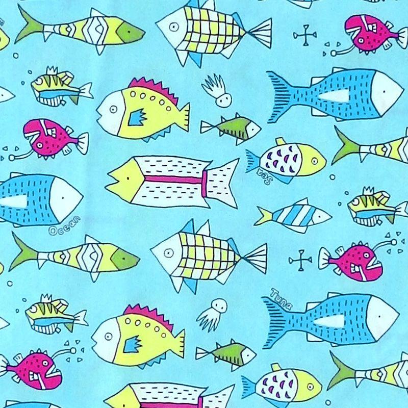 Sevenberry NOVELTY FISH Fabric - Blue