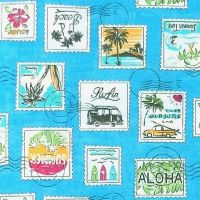 Sevenberry HAWAIIAN STAMPS Fabric - Blue