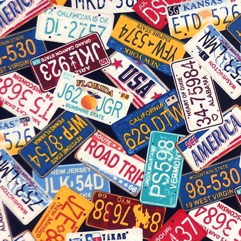 Timeless Treasures STATE LICENSE PLATES Fabric -  Multi