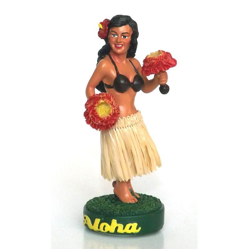 "4"" Miniature Hawaiian Hula Dashboard Doll with Red Uli Uli"