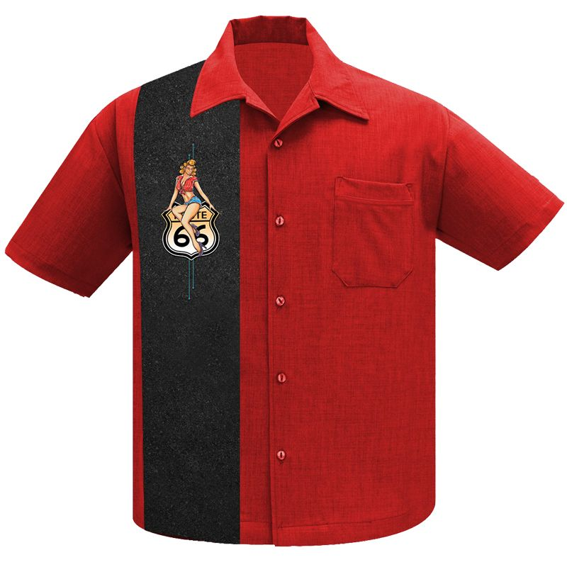 Steady Clothing Route 66 Pin Up Panel Button Up Shirt - Red