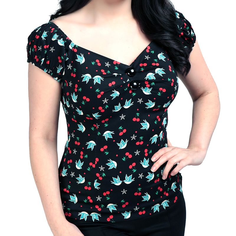 Collectif Dolores Top - Swallow and Cherries