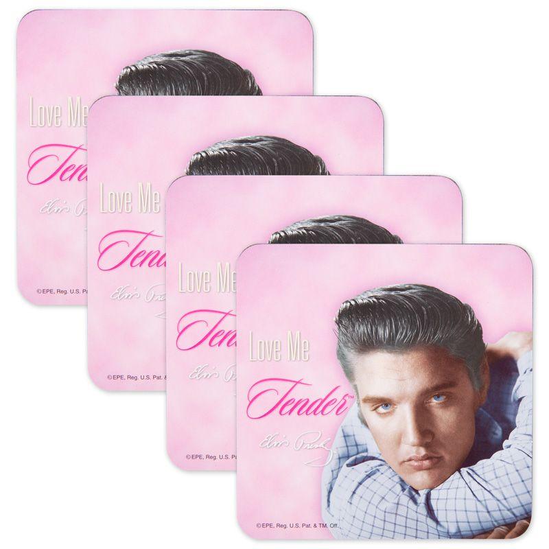 Set of 4 Elvis Presley Lover Me Tender Coasters
