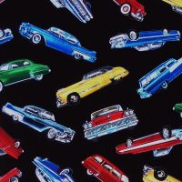 Timeless Treasures TOSSED CLASSIC CARS Fabric - Black