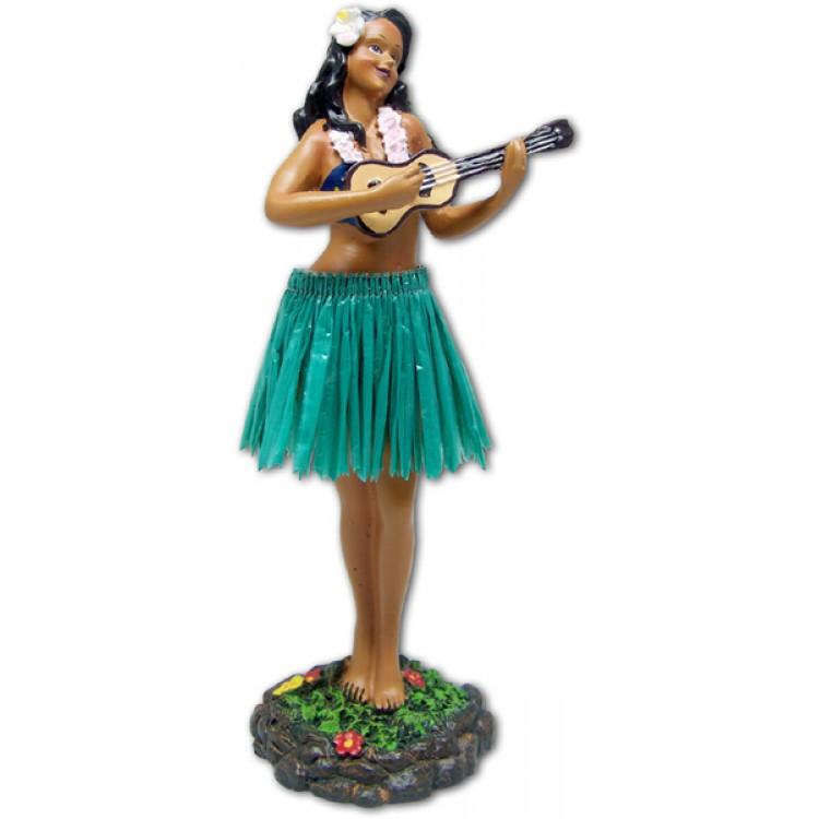 "7"" Leilani Hawaiian Dashboard Hula Girl with Ukulele - Green"