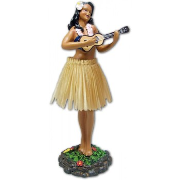 "7"" Leilani Hawaiian Dashboard Hula Girl with Ukulele - Natural"