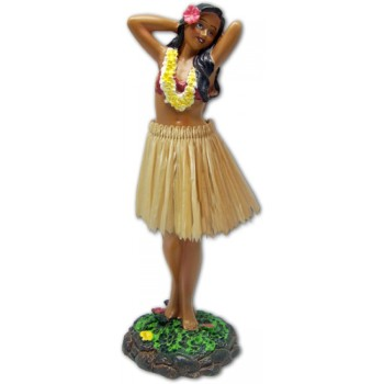 "7"" Leilani Hawaiian Dashboard Hula Girl Posing - Natural"