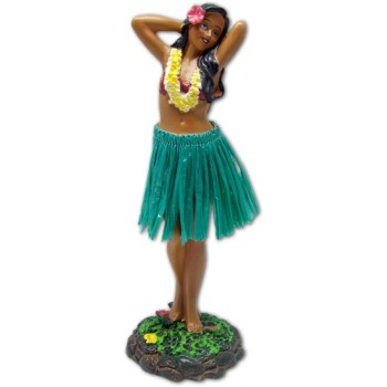"7"" Leilani Hawaiian Dashboard Hula Girl Posing - Green"