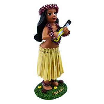 "4"" Miniature Hawaiian Hula Dashboard Doll With Ukulele"