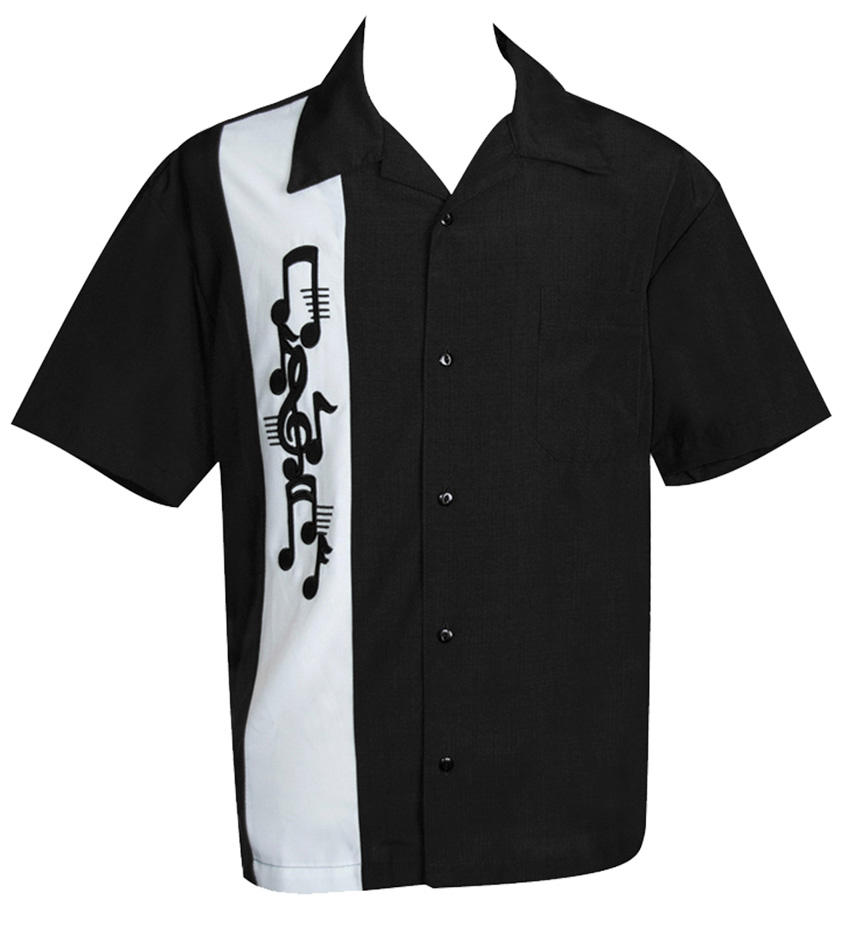 Steady Classic Music Note Applique Button Up Shirt Rock N