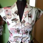 michaela's 50s top in alexander henry vinyl vacation fabric - pink